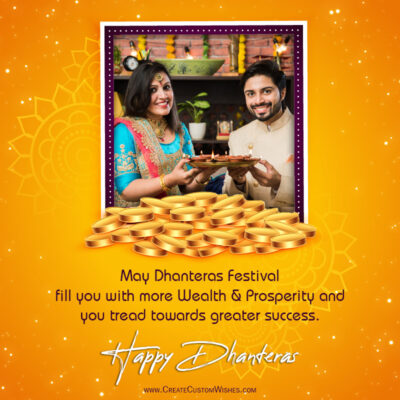 Add Photo & Text on Dhanteras Greeting Card