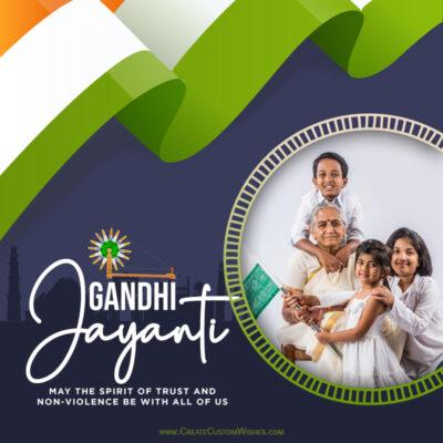 Add Photo on Gandhi Jayanti Wishes Image