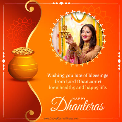 Add your Photo on Dhanteras 2021 Wishes Image
