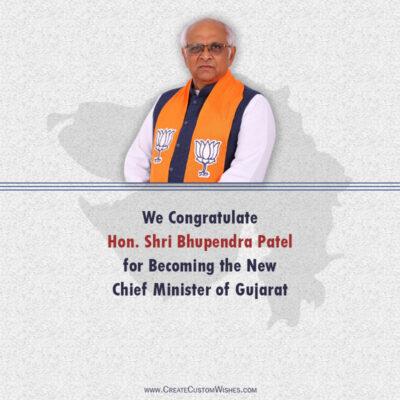 Create Congratulation Image for Bhupendra Patel
