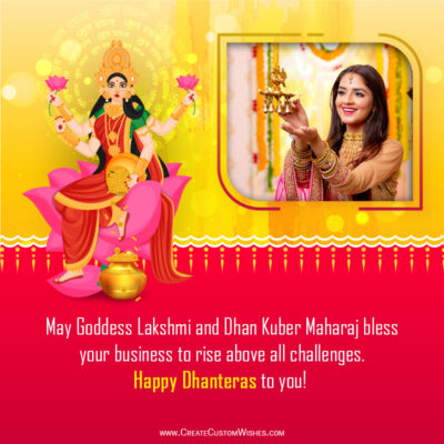 Create Dhanteras Festival Wishes Image with Photo