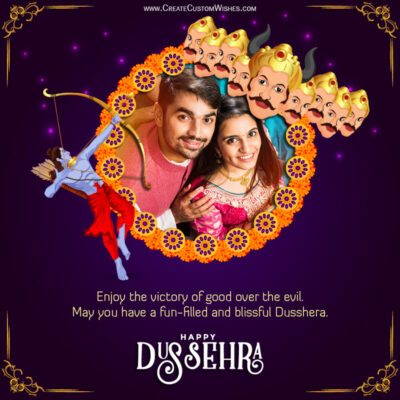 Create Dussehra 2021 Wishes Image with Photo