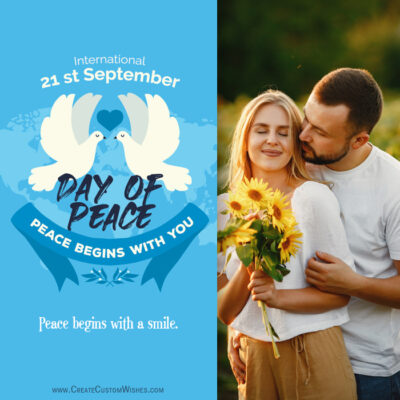 Create International Day of Peace Wishes Image with Photo