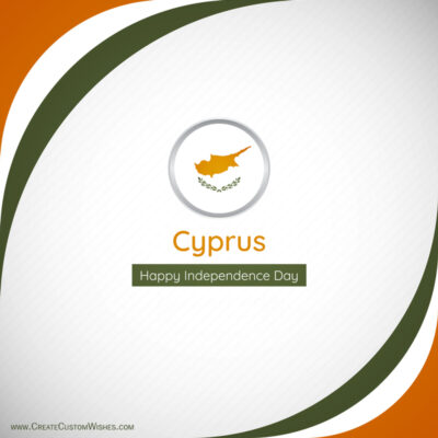 Editable Cyprus Independence Day Greeting Cards