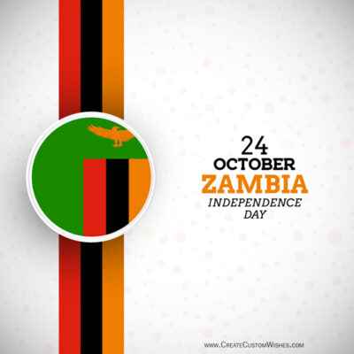 Editable Zambia Independence Day Greeting Cards