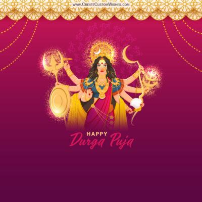 Write Name / Text / Quote on Durga Puja Wishes Image
