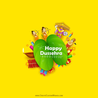 Write Name / Text / Quote on Happy Dussehra Wishes Image
