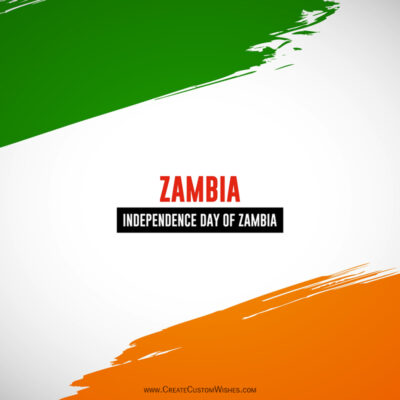 Write Name / Text / Quotes on Zambia Independence Day Image