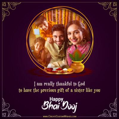 Add Photo & Text on Bhai Dooj Greeting Card