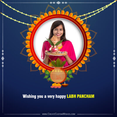 Add Photo & Text on Labh Pancham Greeting Card