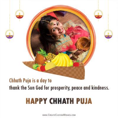 Add Photo on Chhath Puja 2021 Greeting Card
