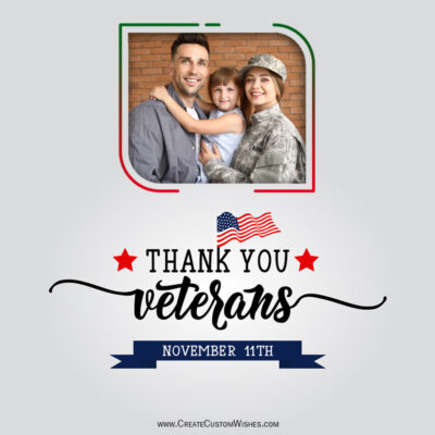 Add your Photo on Thank You Veterans Day Greeting Card