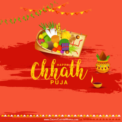 Create Chhath Puja Wishes with Name