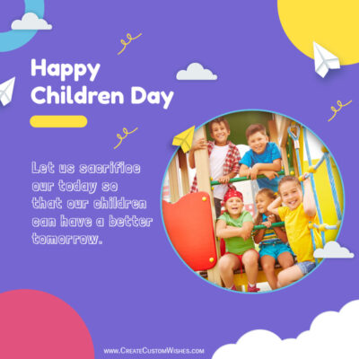 Create Childrens Day 2021 Wishes Image with Photo