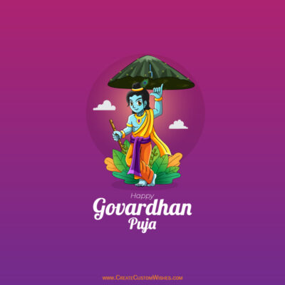 Create Custom Govardhan Puja Wishes Image