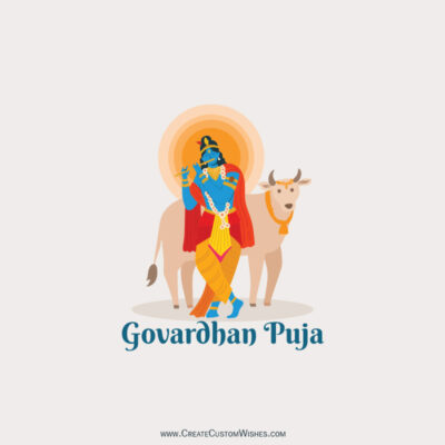 Editable Govardhan Puja Greeting Cards