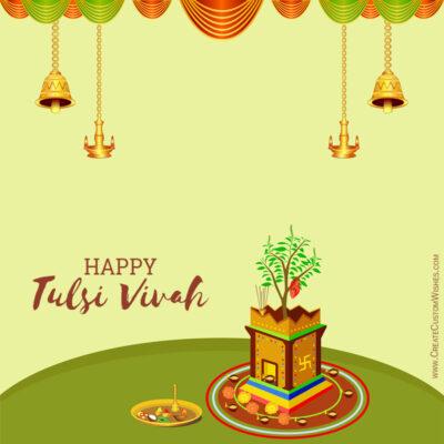 Editable Tulsi Vivah Greeting Cards