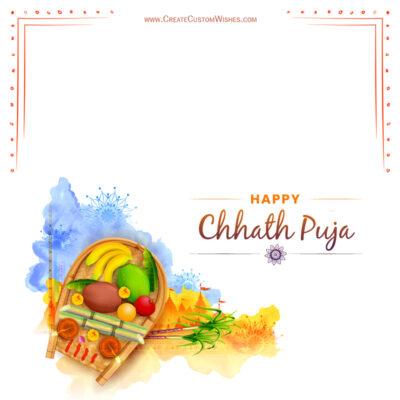 Write Name / Text / Quotes on Chhath Puja Wishes Image