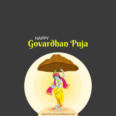 Write Name / Text / Quotes on Govardhan Puja Image