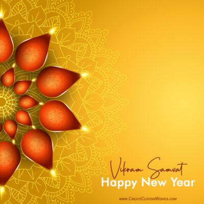 Write Name / Text / Quotes on Vikram Samvat New Year Wishes Image