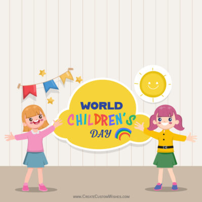 Write Quote / Text / Name on Happy Childrens Day Wishes Image